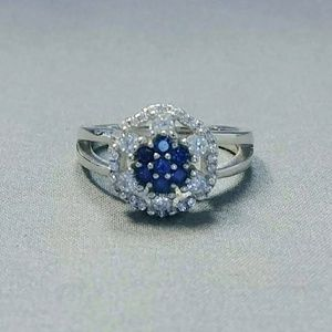 White Gold over Silver Sapphire Statement Ring